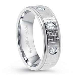Check Design Diamond Wedding Band