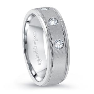 Three Round Cut Diamond Wedding Band