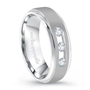 Three Diamond Studded Wedding Band In 14K White Gold