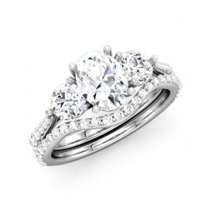 Three-Stone Oval Diamond Bridal Set