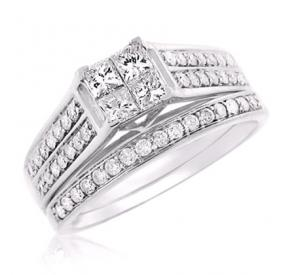 Triple Channel Set Princess Cut Bridal Set In 14k White Gold