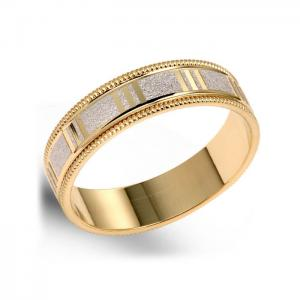 Custom Wedding Band With Two-Tone Gold