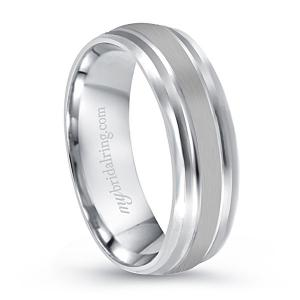 Satin Finish Dual Gold Inlay Wedding Band