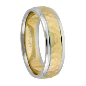Two Tone Hammered Finish Engagement Band