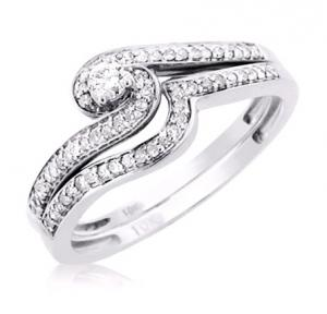 UNIQUE DESIGN ROUND SOLITAIRE BRIDAL SET IN 14K WHITE GOLD