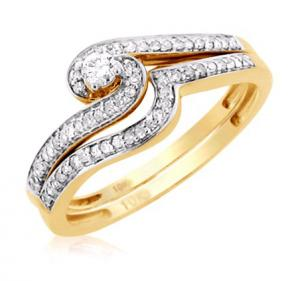 UNIQUE DESIGN ROUND SOLITAIRE BRIDAL SET IN 14K WHITE/YELLOW GOLD