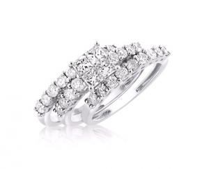 UNIQUE PRINCESS CUT BRIDAL SET IN 14K WHITE GOLD