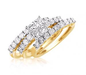 UNIQUE PRINCESS CUT BRIDAL SET IN 14K WHITE/YELLOW GOLD