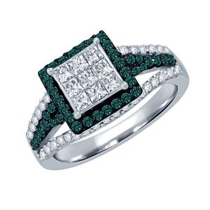 Unique Design Diamond Ring In 14K White Gold