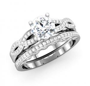 Unique Design Round Shape Semi Mount Bridal Ring With Matching Diamond Band
