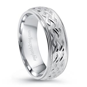 Unique Design Wedding Band In 14K White Gold