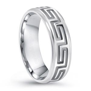 Unique Two Tone Engraved Design Wedding Band