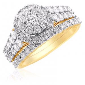 Vintage Design Bridal Set In 14K White/Yellow Gold