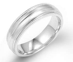 Simple White Gold Wedding Band For Men