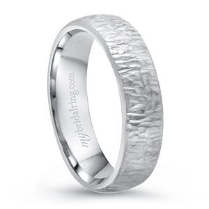 Wood Finish Engagement Band In 14K White Gold