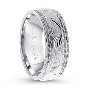 Wreath Wedding Band In 14K White Gold